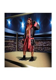 Hooded satin robe with contrast trim and screenprint comes with coordinating stripe boxer short with screen printed waistband. Includes boxing gloves. (4 piece set)