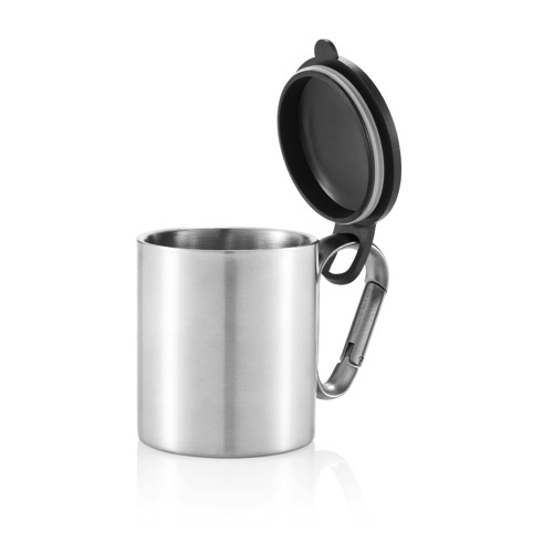 Carabiner mug. 200ml double wall stainless steel mug with PP lid and  carabiner…