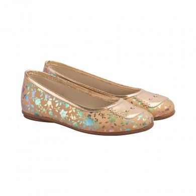 Print Ballerinas - Flora -  Girl's Shoes   These fun and girly ballerinas are an all round favourite. Made with soft metallic floral Napa leather, this ballerina is detailed with a metallic leather toe cap with matching classy metallic studs and a metallic gold leather trim. This ballerina is designed with a memory foam cushioned leather insole, leather lining and a moulded white/honey colored brush effect TPR outsole.