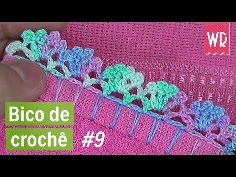Bico de crochê fácil, bonito e rápido para toalha e fraldas #9