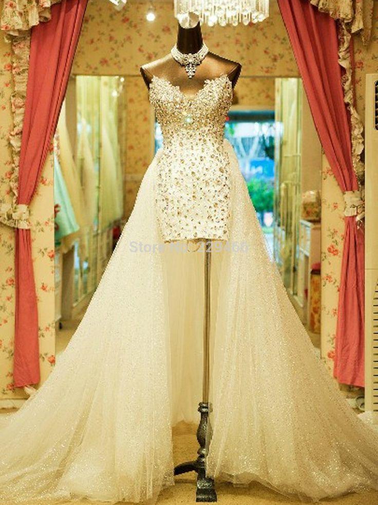 V neck Tulle Crystal Luxury Wedding Dress With Detachable skirt Short front Long Back Casamento  ...