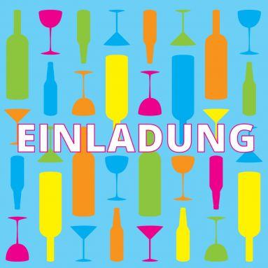 Grafische Einladungskarte In Frischen Farben Mit Illustrationen Von  Flaschen Und Gläsern. (Hinweis: Für