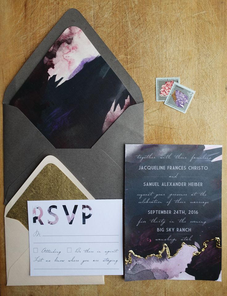 how to mail scroll wedding invitations%0A Modern and moody gold foil watercolor wedding invitations  I like these  even tho they are