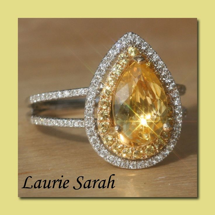 Pear Shaped Yellow Sapphire Ring with Yellow Sapphire & Diamond Double Halo - LS1310