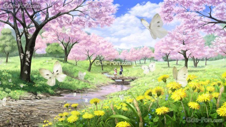 tlcharger fond d 39 ecran printemps paysage humeur papillons fonds d 39 ecran gratuits pour votre. Black Bedroom Furniture Sets. Home Design Ideas