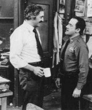 Captain Barney Miller (Hal Linden) and Officer Carl Levitt (Ron Carey)