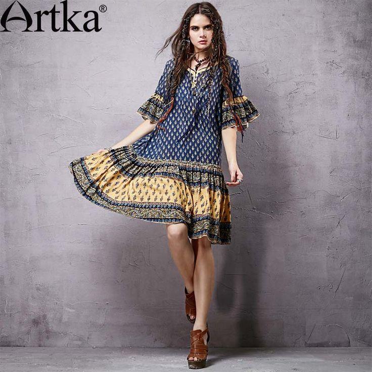 Легкое свободное платье в деревенском стиле с широкими волановыми рукавами