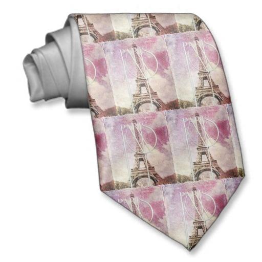 Torre Eiffel cor-de-rosa, roxa feminino do damasco Gravata Com Fotos