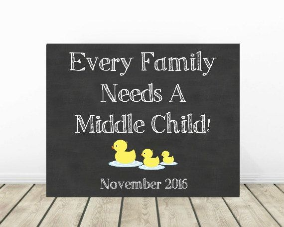 3rd Pregnancy Announcement, Baby Announcement, Pregnancy Chalkboard, Baby Reveal, Pregnancy Reveal, Middle Child, 3rd baby, Sibling Sign by PrintsInspiredByMyah on Etsy