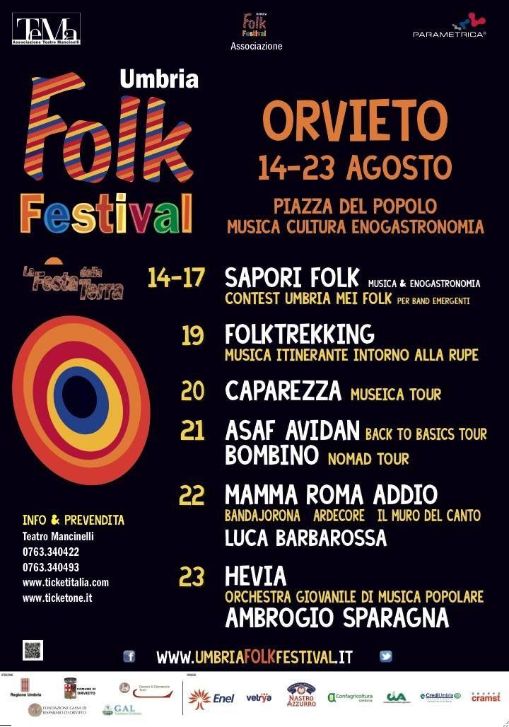 Schedule for Umbria Folk Festival in Orvieto, August 14-23, 2014