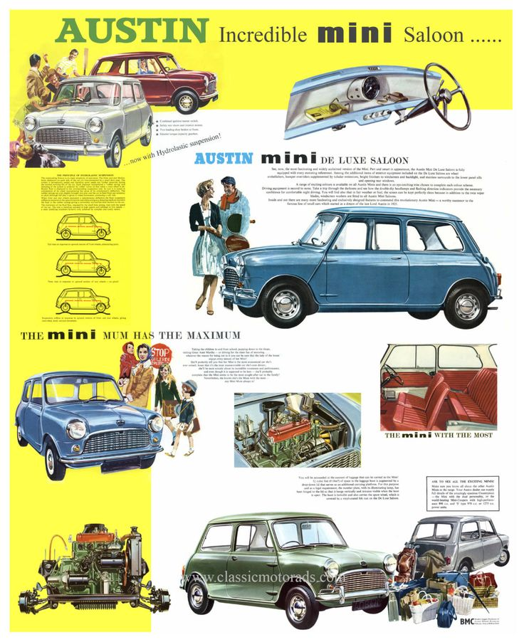 Classic Austin Mini Saloon poster reproduced by classicmotorads
