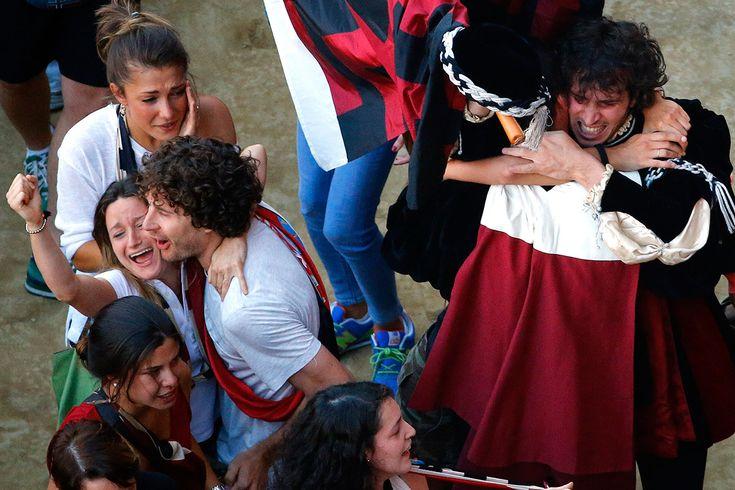 Civetta supporters enjoy their Palio win