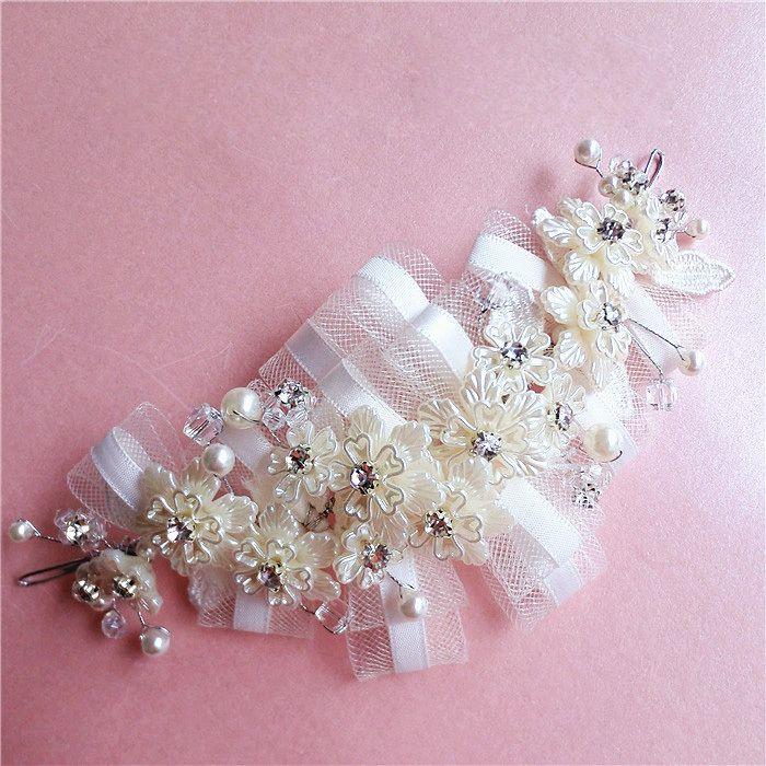 Корейский люкс сетки горный хрусталь цветок голову цветок Корейский короткие волосы жемчужина горный хрусталь аксессуары для волос свадебные аксессуары