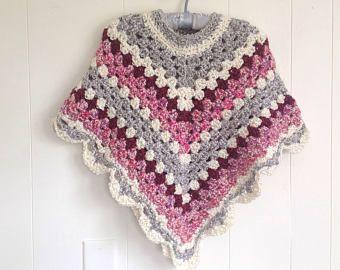 Petite vrouwen sjaal - Medium gehaakte poncho - meisjes retro poncho - gehaakte omslagdoek - Medium gehaakte omslagdoek