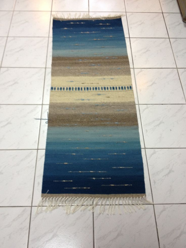 """Handmade wool rugs """"The sea"""", area rug, blue and natural colors, handwoven rug by DzevStudio on Etsy"""