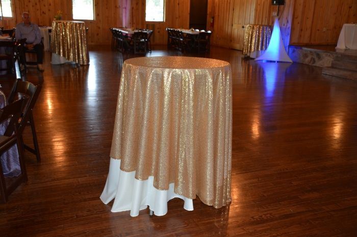 "4 – Round 108""  Gold Sequin tablecloths for sale at Bridal Garage Sales"