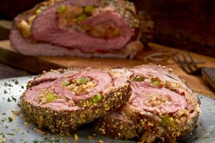 Hearty Tuscan Herb Parmesan-Stuffed Flank Steak Recipe - Kraft Recipes