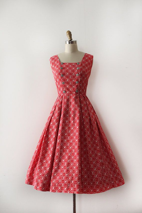 vintage 1950s LANZ dress // 50s red novelty print cotton day