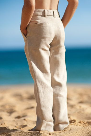 Our offering of boy's linen pants in matching styles and colors to our men's linen pants. Perfect for beach weddings!