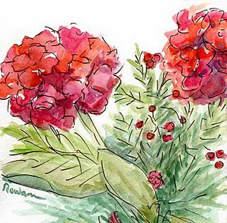 ..Pen and wash  cabbage rose design of Donna Dewberry