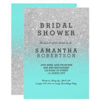 #invitations #wedding #bridalshower - #Silver faux glitter teal ocean chic bridal shower card