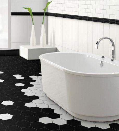 Les 25 meilleures id es de la cat gorie tuile hexagonale sur pinterest salle de bains - Carrelage hexagonal salle de bain ...