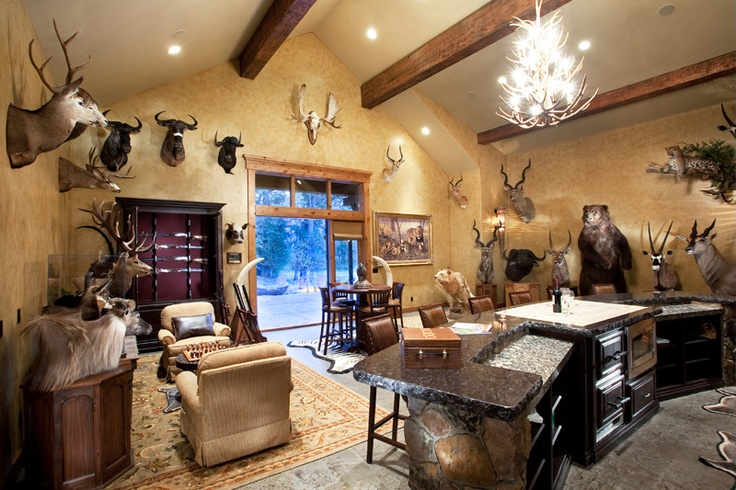 - Ultimate Sportsman's Lodge-- countertop on black with stones