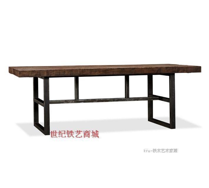 amerikaanse dorp loft retro oude grenen bureau om de oude smeedijzeren eettafel schilderen tafel bureau(China (Mainland))