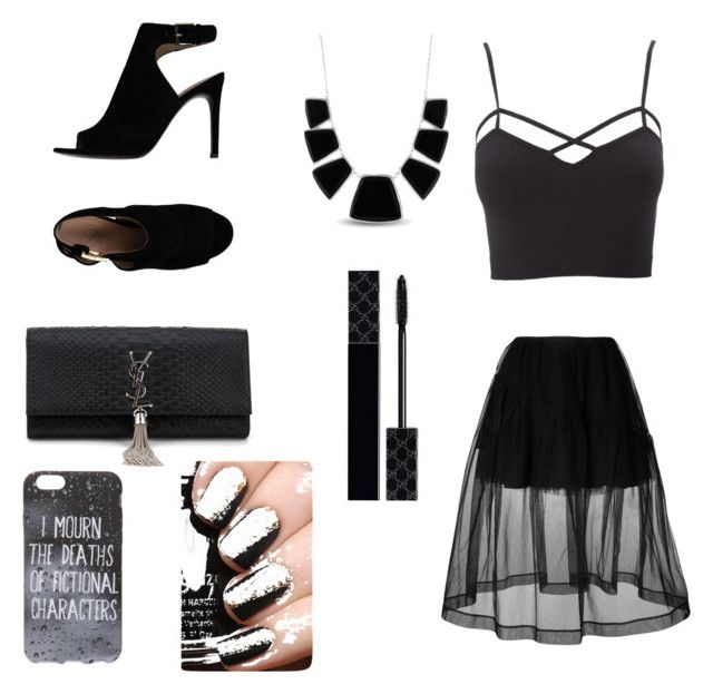"""""""Fashon in out outfit"""" by moniquitarivero on Polyvore featuring moda, Simone Rocha, Charlotte Russe, Tory Burch, Yves Saint Laurent, Karen Kane y Gucci"""