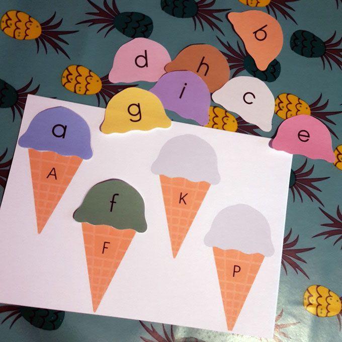 Voilà le deuxième jeu autour des lettres de l'alphabet en jouant entre lettres majuscules et minuscules. Vous pouvez retrouver le 1er jeu sur le webzine blog Plus de Mamans et d'autres arrivent très prochainement. Cette fois-ci, on joue avec des glaces … comme Petit Testeur adore les glaces je trouvais cela sympa de lui proposer sous cette forme. Associer la …