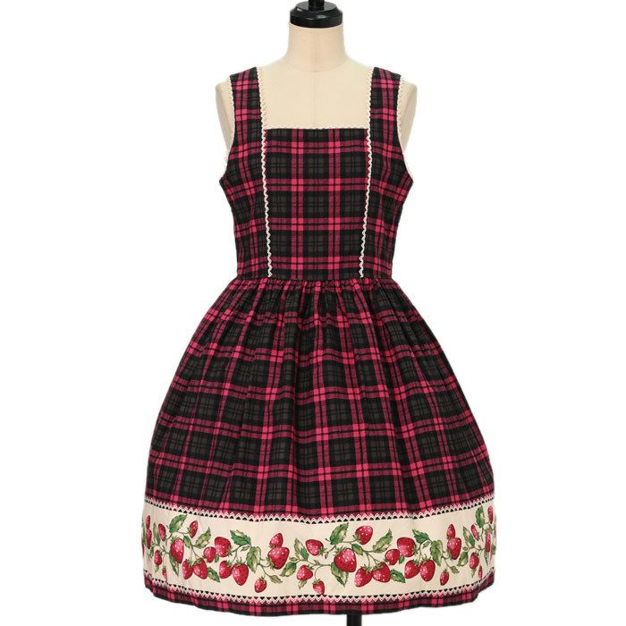 Worldwide shipping available ♪ Shirley Temple ☆ ·. . · ° ☆ strawberry gingham plaid Sleeveless Dress https://www.wunderwelt.jp/products/w-16372  IOS application ☆ Alice Holic ☆ release Japanese: https://aliceholic.com/ English: http://en.aliceholic.com/