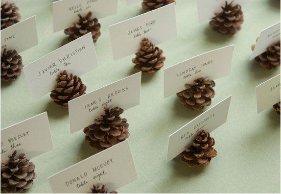 Use pine cones for places settings.