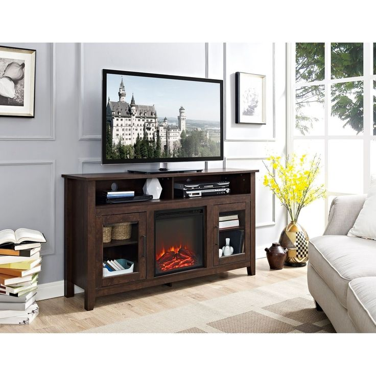 58-inch Traditional Wood Highboy TV Stand with Electric Fireplace (traditional brown)