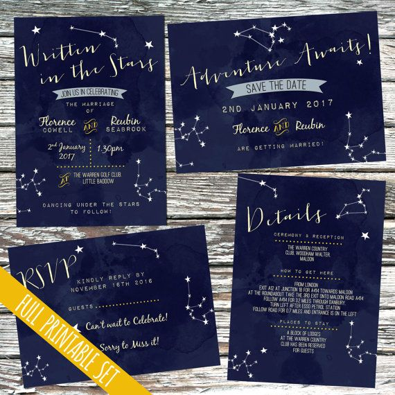 Written In The Stars Printable Wedding Invitation Set Constellation Night Sky Custom Personalised Invites Set Star Sign Galaxy Zodiac