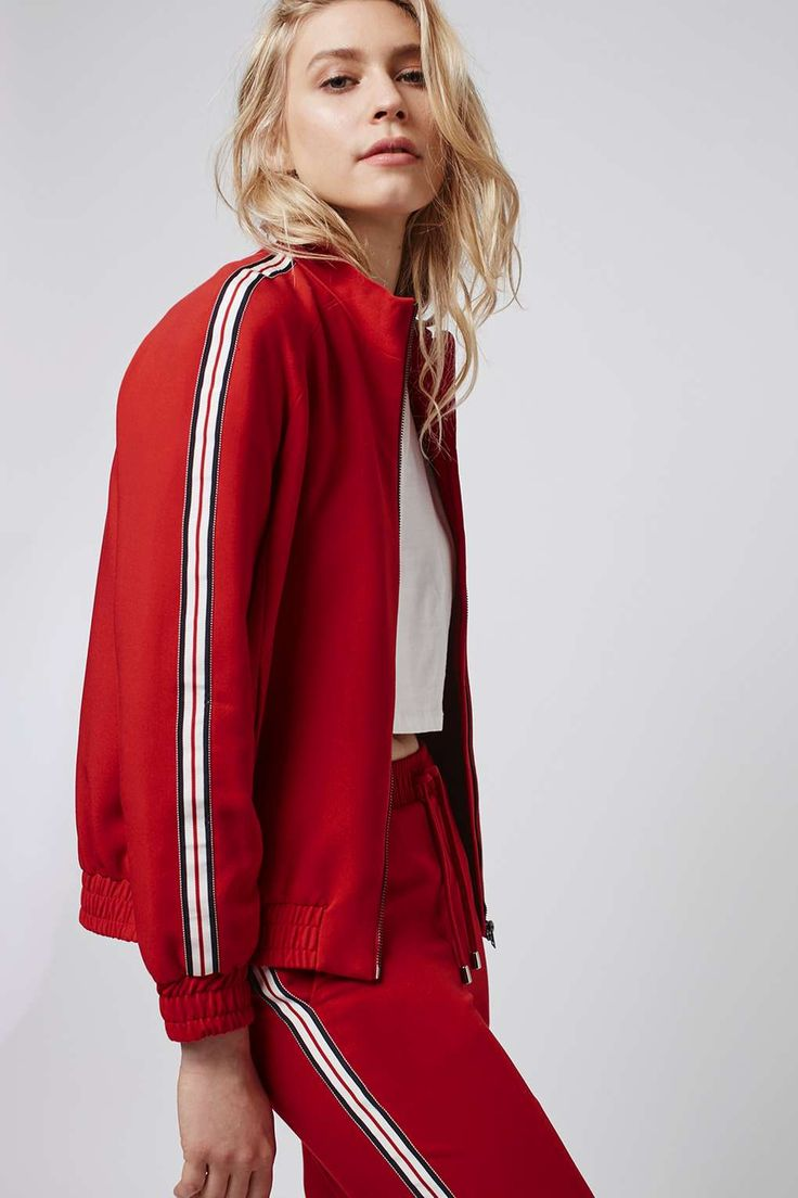Stripe Detailed Track Top - Sale - Sale & Offers - Topshop USA