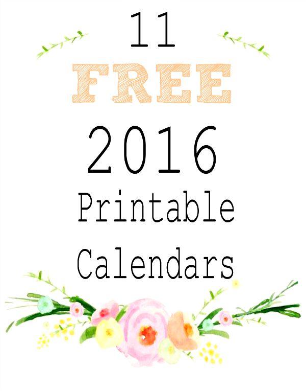2016 Free Printable Calendars