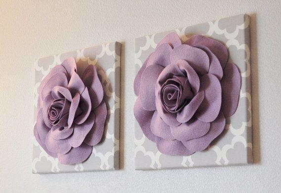 Paarse muur decoratie Set van drie  Lila rozen op neutrale
