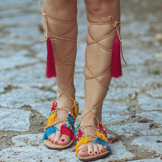 Bohemian Sandals Kitten Lace up by SandalsofLove on Etsy