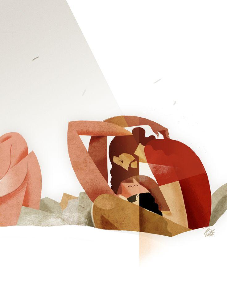 """Il bacio"" digital illustration Riccardo Guasco 2014"