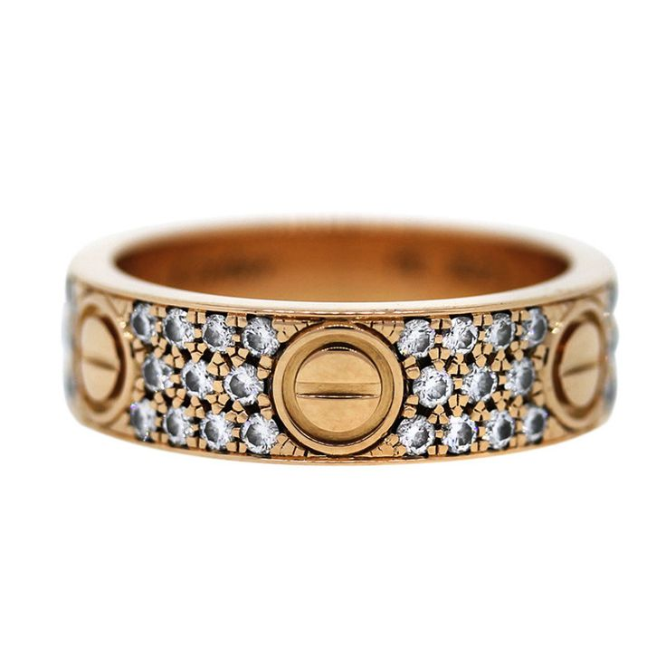 cartier rose gold diamond love ring size 58