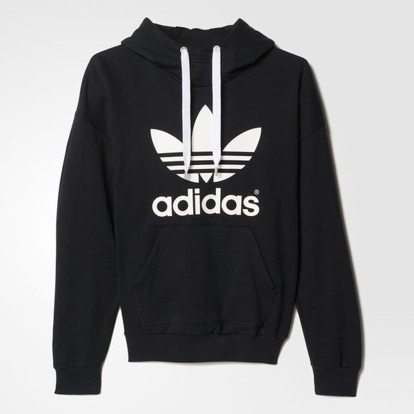adidas Trefoil Hoodie - Svart | adidas Sweden ❤ liked on Polyvore featuring tops, hoodies, hooded pullover, adidas top, adidas hoodies, hoodie top and hooded sweatshirt