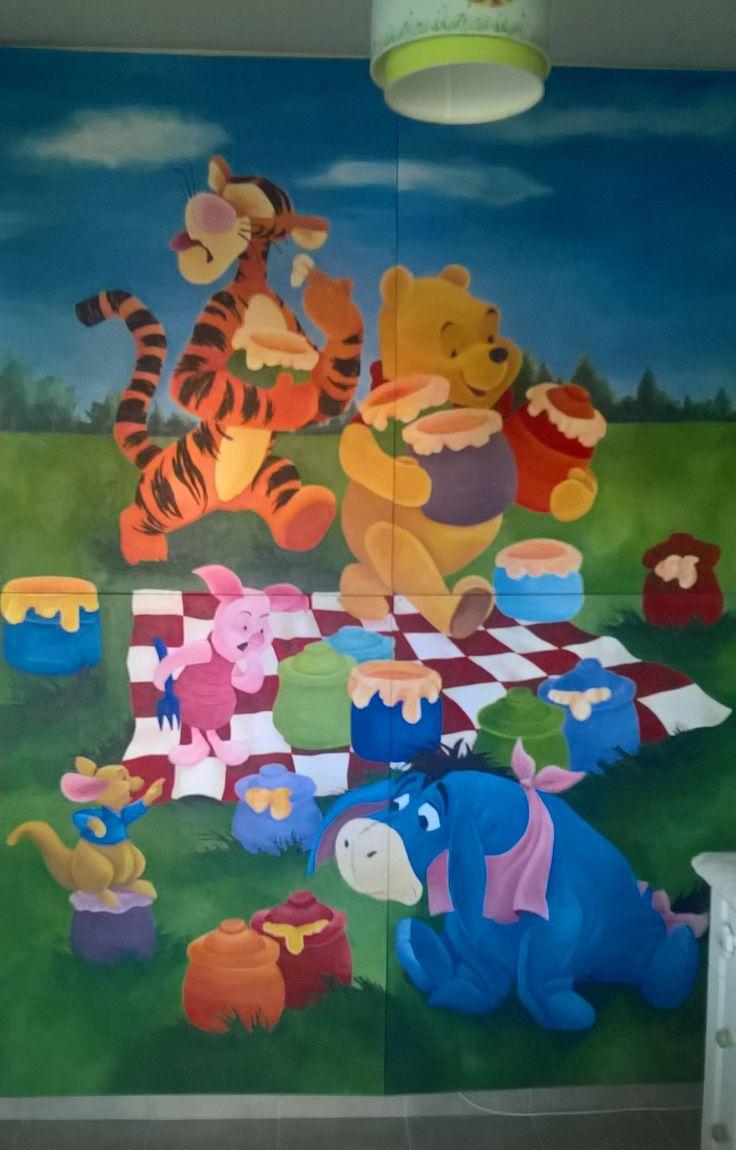 nursery Winnie the Pooh canvas wall mural