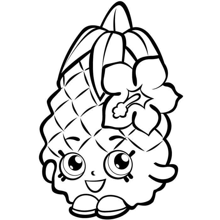 Shopkins Season 1 Pineapple Crush Coloring Page Fruit Coloring Pages Shopkins Colouring Pages Cute Coloring Pages