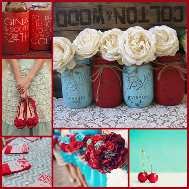Aquamarine and Red Table Decorations | ... Ideas and Themes for your Wedding Stubby Holders in Cherry Red, Aqua