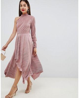 bda95f2d2d94e DESIGN asymmetric one sleeve plisse dress in 2019 | Looks for ...