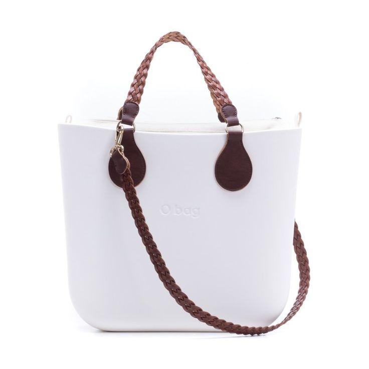 O bag mini bianca con manici e tracolla treccina