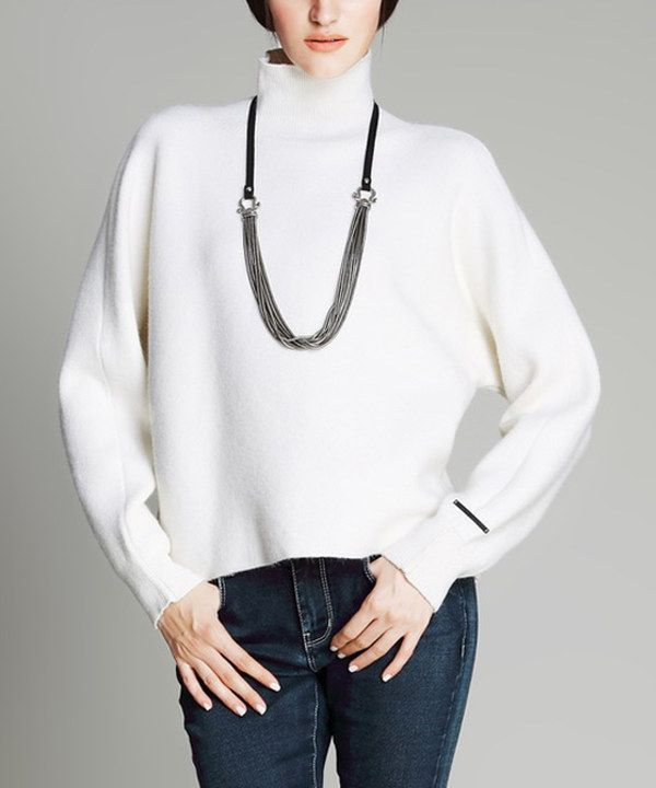 Look at this Vanillachocolate Off-White Turtleneck on #zulily today!