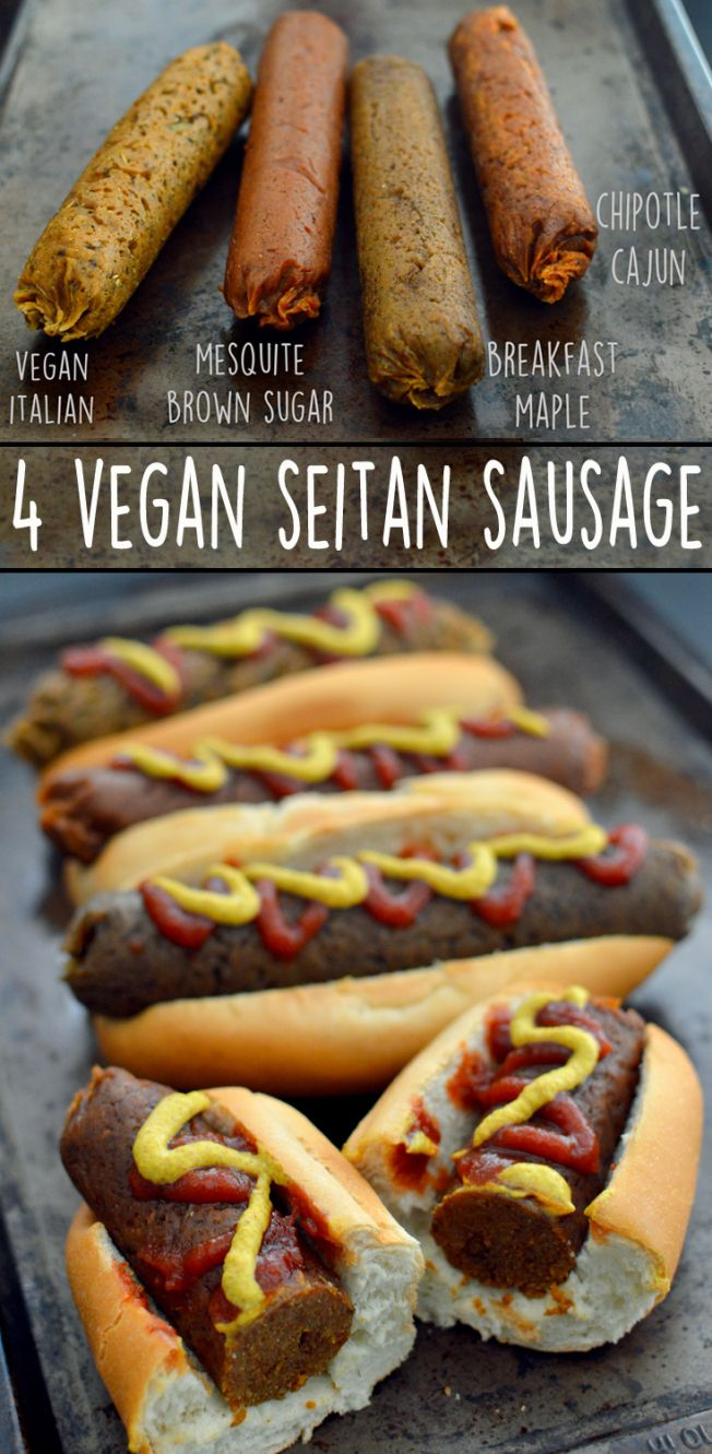 Italian, Maple Breakfast, Chipotle Cajun, Mesquite Brown Sugar - 4 Vegan Sausage Recipes - Seitan - Rich Bitch Cooking Blog