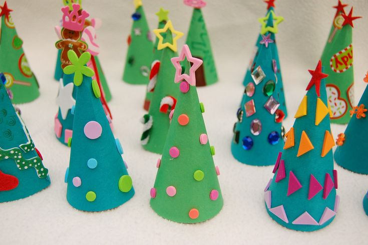 Cone tree advent calendar, with little treats hiding under each tree.
