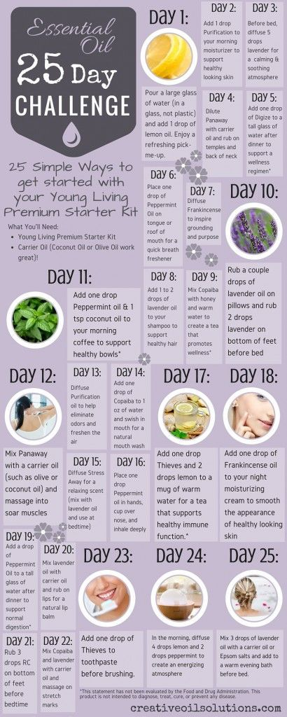 25 Day Essential Oil Challenge – Support a Healthy Lifestyle. This challenge is for people looking for ways to easily incorporate oils into their everyday lives. Quick and simple tips to increase wellness through the use of EOs. Perfect if you have the Young Living Premium Starter Kit!